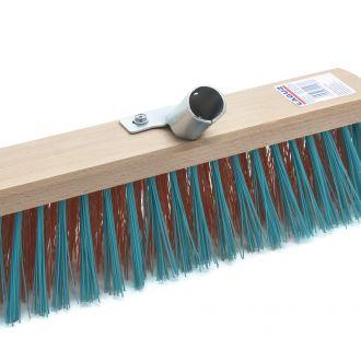 Street brush with metal handle